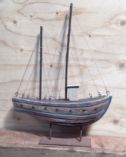 Rustic Wooden Trawler Fishing Boat Decorative Ornament